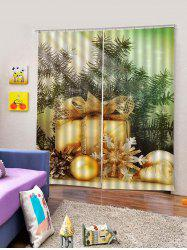 2Pcs Christmas Gift and Snowflake Window Curtains -