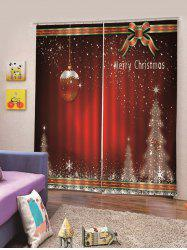 2Pcs Christmas Star Tree and Cane Window Curtains -