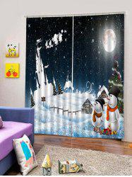 2Pcs Christmas Moon and Snowman Window Curtains -