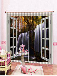 2Pcs Waterfall Printed and Forest Window Curtains -