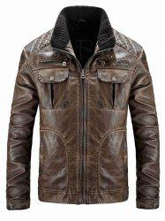 Men's Casual Washed Old Leather Jacket -