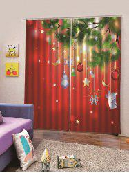 2Pcs Christmas Hanging Decorations Printed Window Curtains -