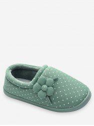 Flower Decorative Polka Dot Winter Slippers -
