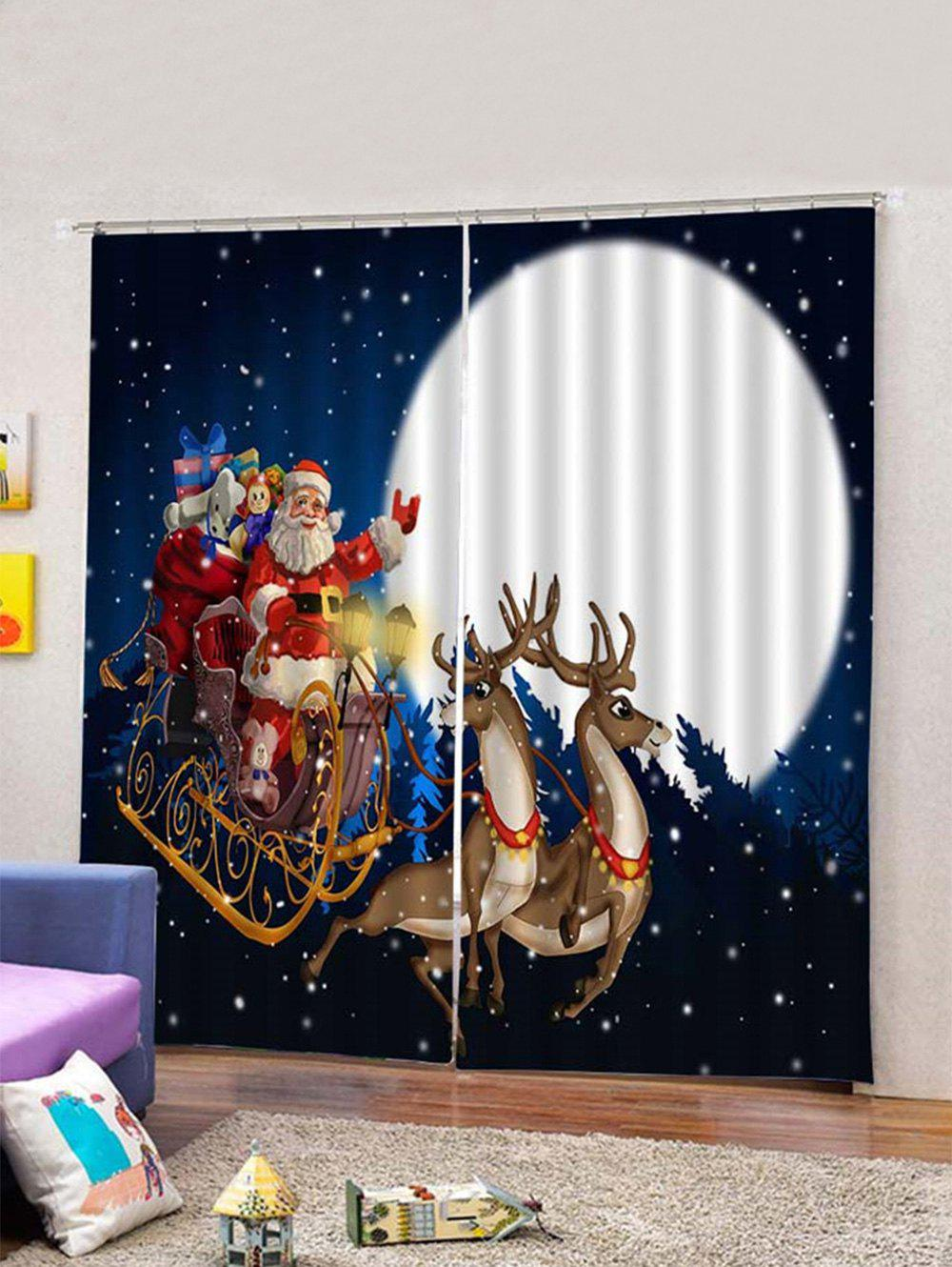 Latest 2Pcs Christmas Car and Santa Window Curtains