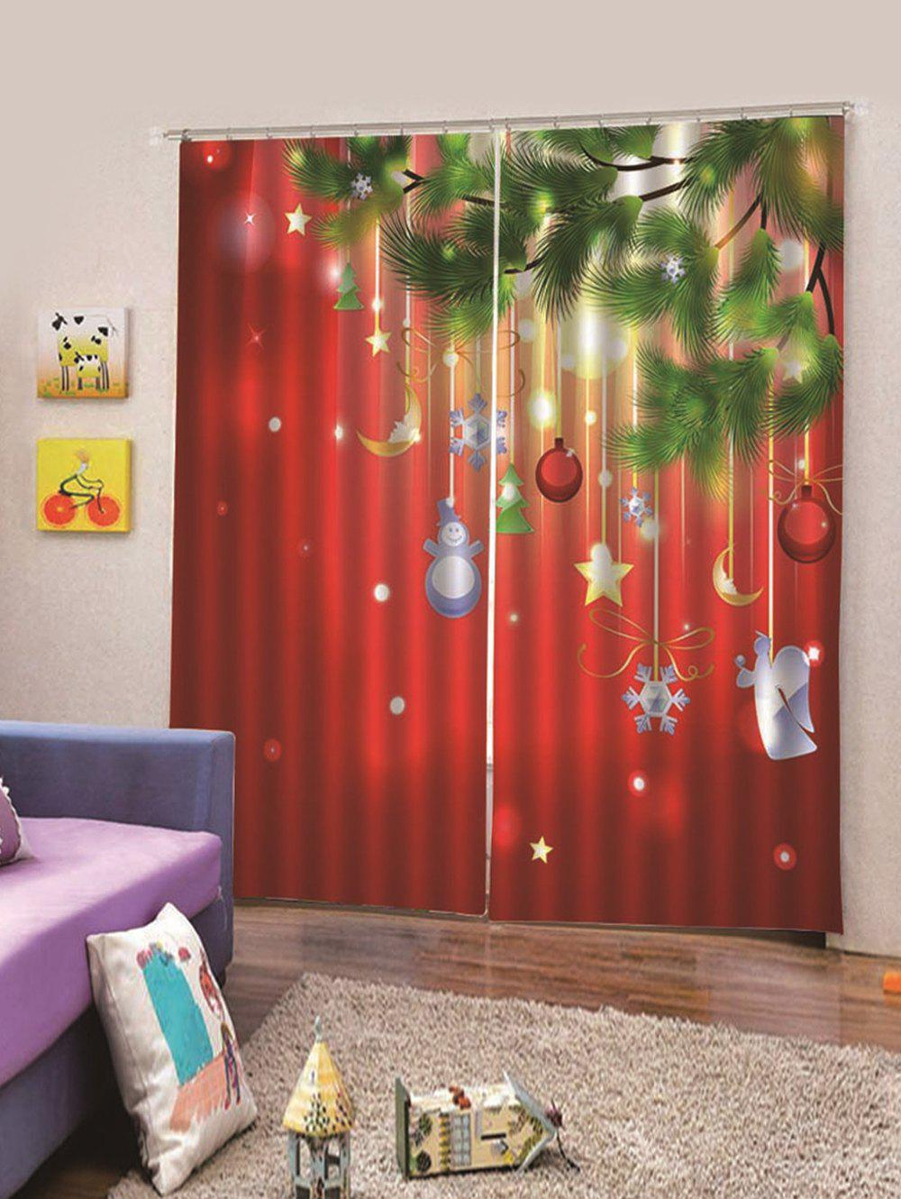 Online 2Pcs Christmas Hanging Decorations Printed Window Curtains
