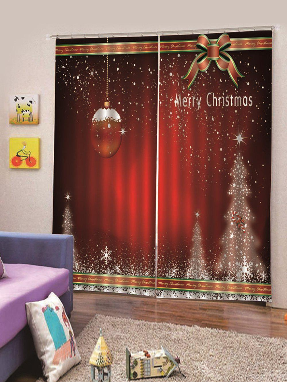 Store 2Pcs Christmas Star Tree and Cane Window Curtains