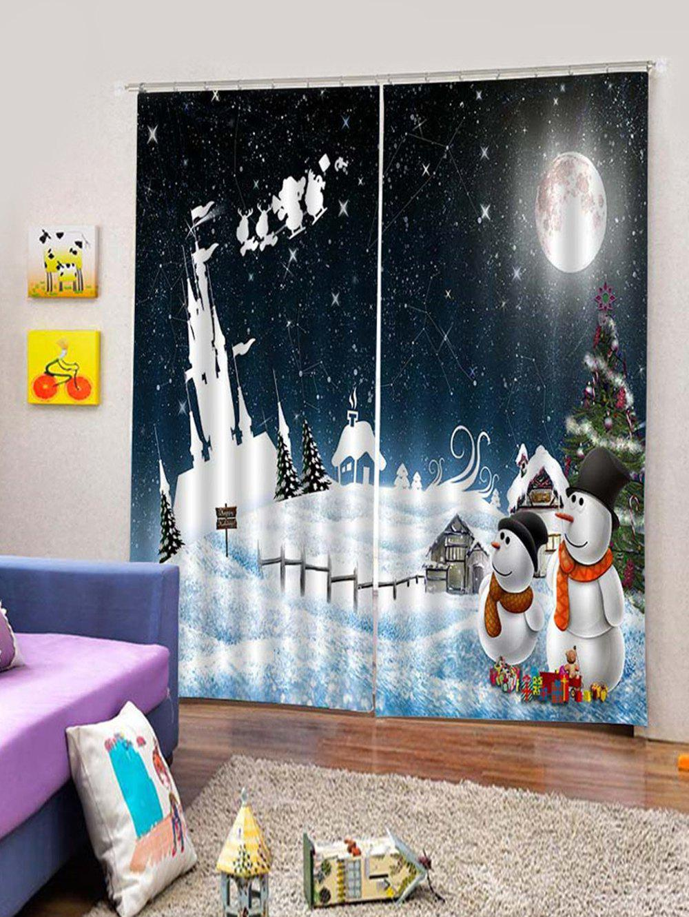 Store 2Pcs Christmas Moon and Snowman Window Curtains