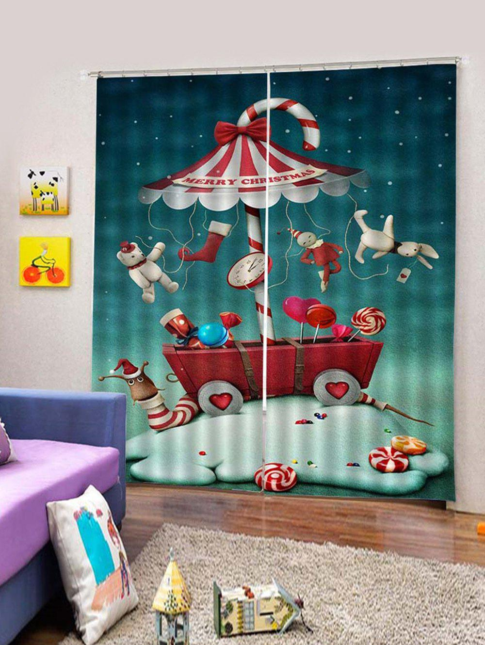 Hot 2Pcs Christmas Candy Car with Toys Window Curtains