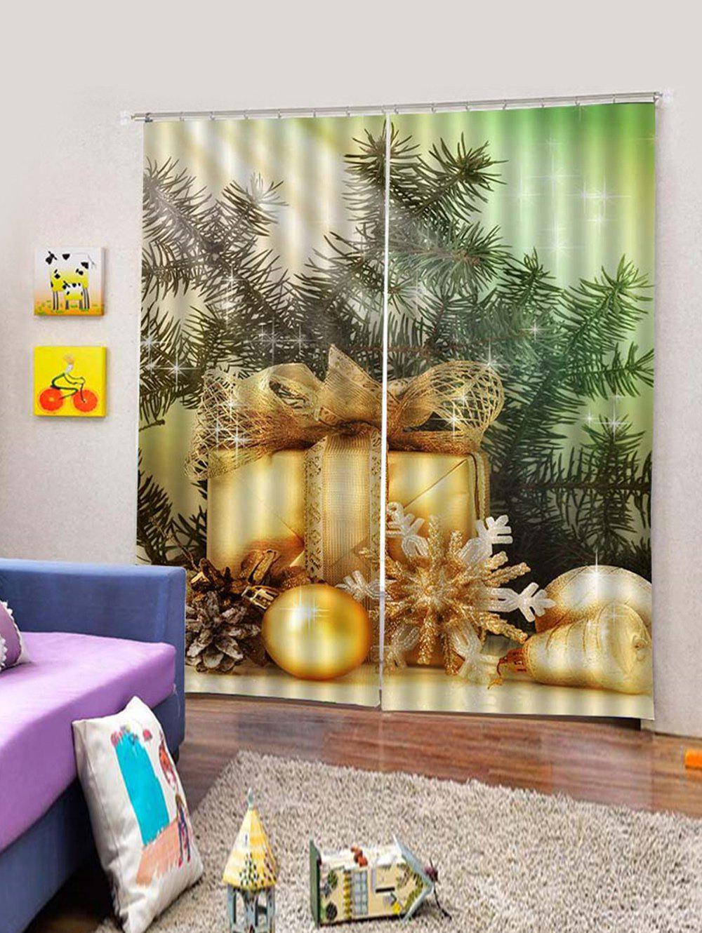 Affordable 2Pcs Christmas Gift and Snowflake Window Curtains