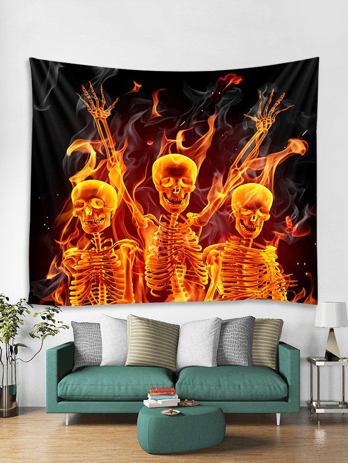 Cheap Flame Skeleton Print Tapestry Wall Hanging Decoration