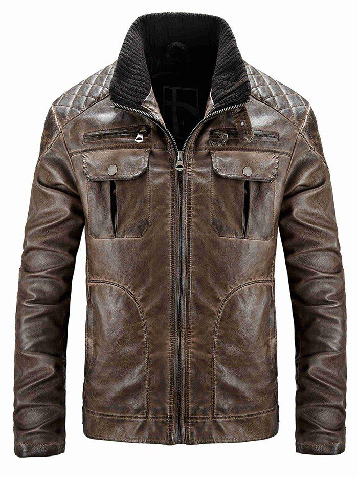 Fancy Men's Casual Washed Old Leather Jacket
