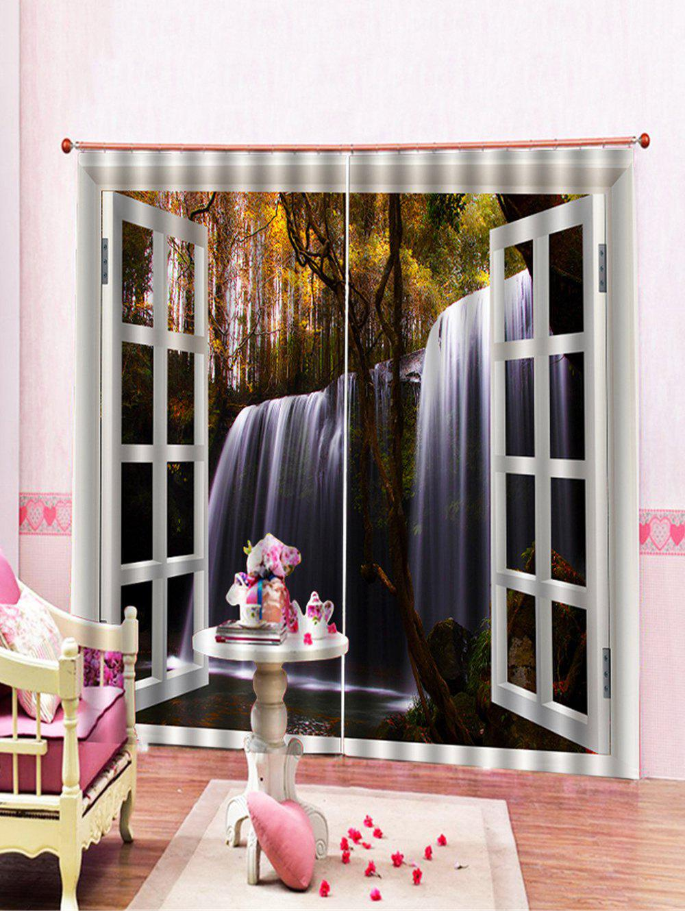 Store 2Pcs Waterfall Printed and Forest Window Curtains