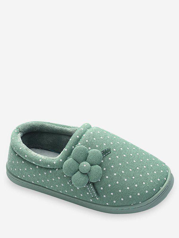 Sale Flower Decorative Polka Dot Winter Slippers