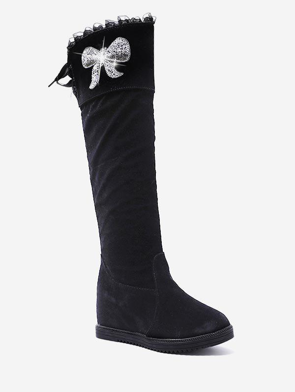 0805d8fc8e94 2019 Shiny Bowknot Hidden Wedge Knee High Boots