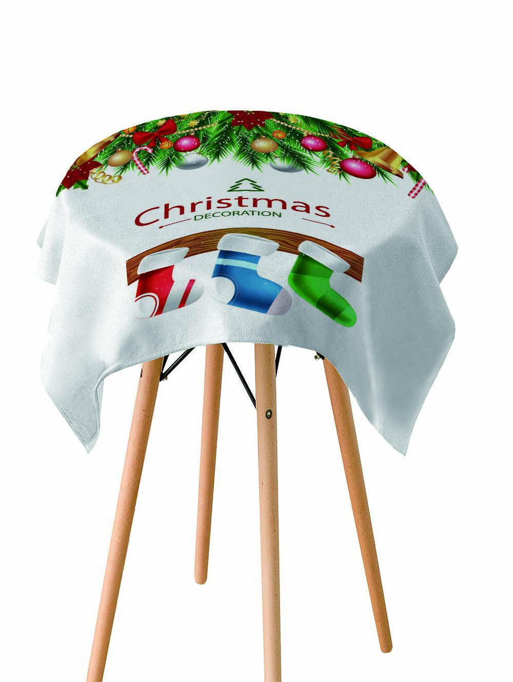 Unique Christmas Stocking Printed Fabric Waterproof Table Cloth