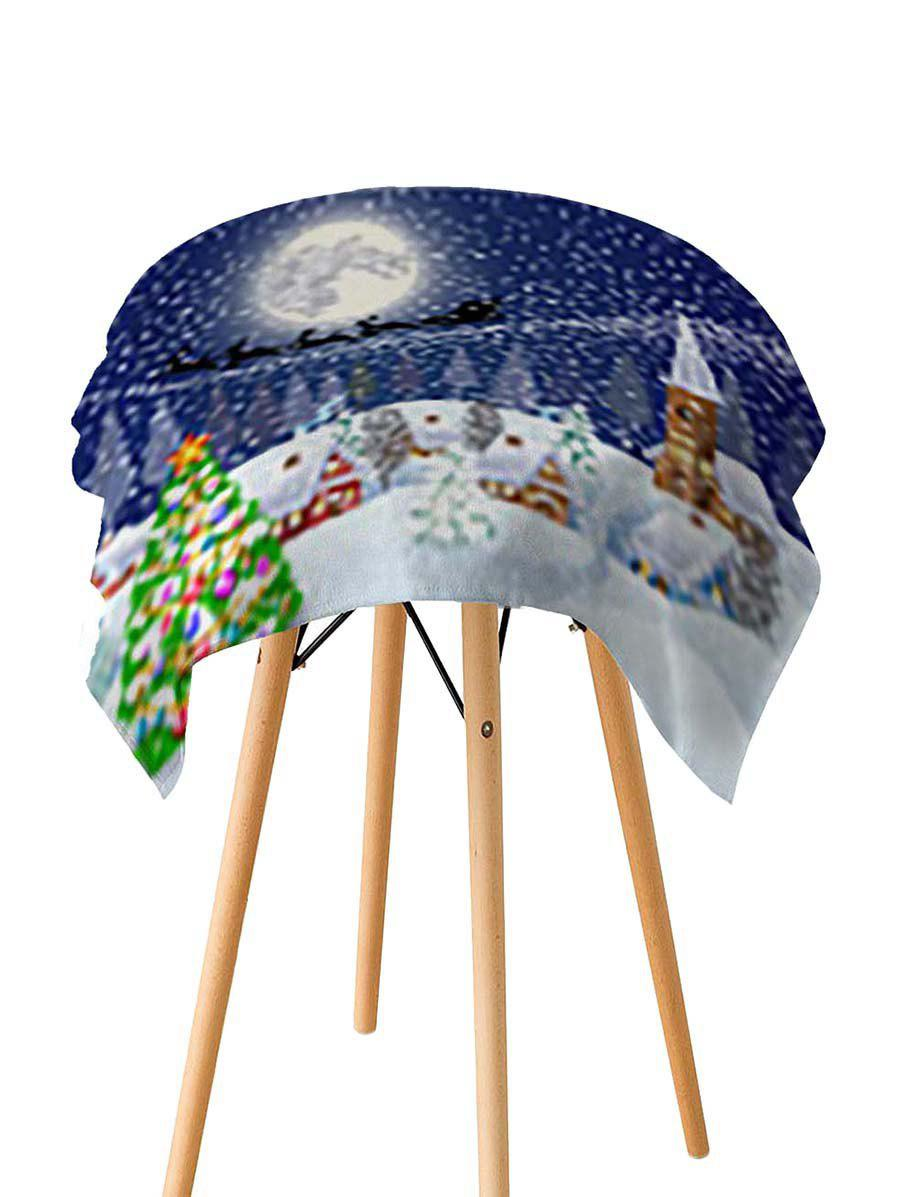Outfits Christmas Tree Snow Night Printed Fabric Waterproof Table Cloth