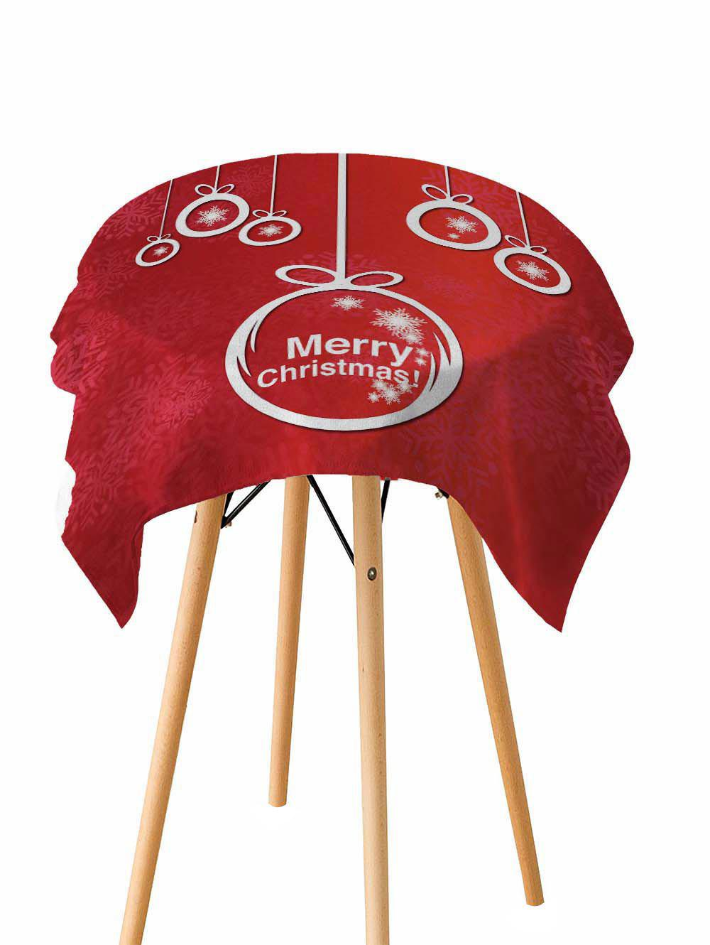 Fancy Merry Christmas Printed Fabric Waterproof Table Cloth