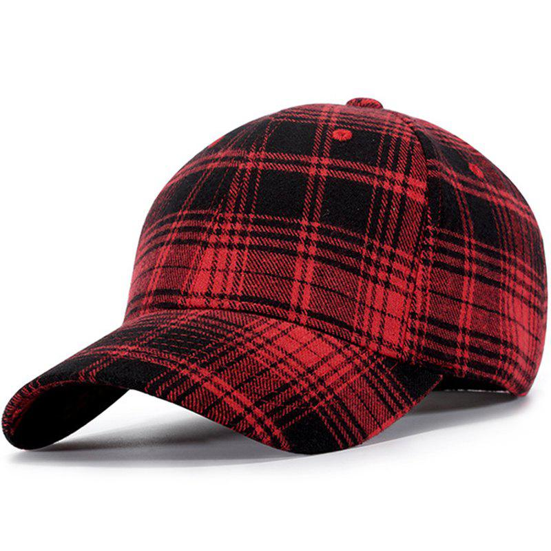 Fashion Autumn Winter Cotton Plaid Black Red Trend Baseball Cap