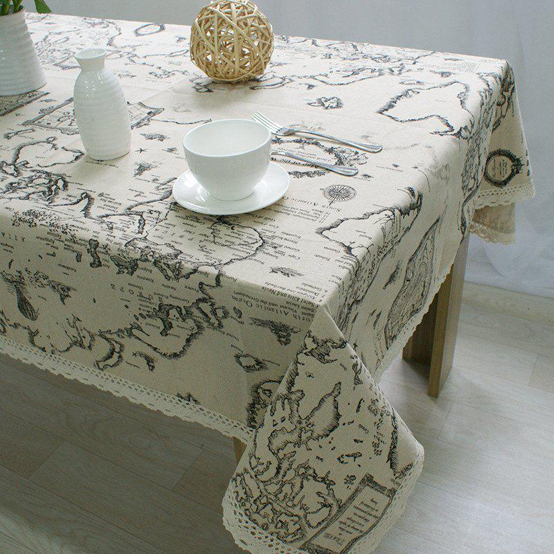 Online World Map Printed Cotton Linen Cover Towel Universal Tablecloth
