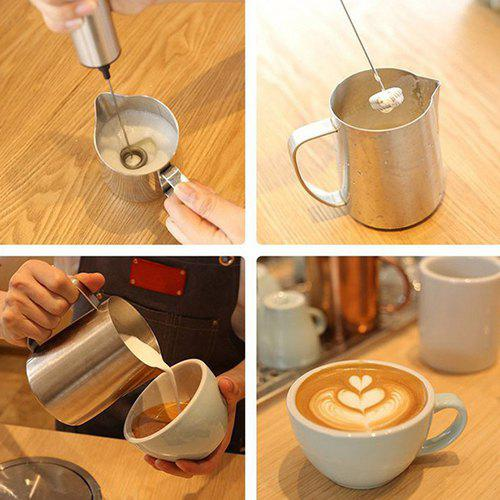 Double Spring Whisk Head Electric Milk Mixer Frother Stainless Steel Handheld Milking Machine, Silver