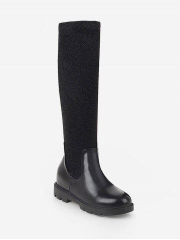 Plus Size Contrast Patch Sock Knee High Boots