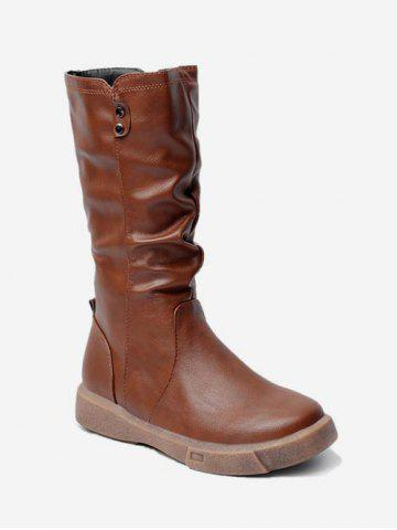 PU Leather Ruched Mid Calf Boots