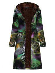 Women Long-sleeve Large Size Long Cotton Linen Vintage Ink Printing Plus Velvet Hooded Parka -