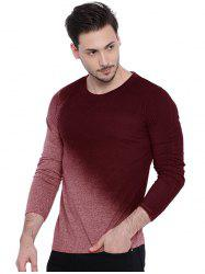 Men's T-Shirt Long Sleeve Gradient Solid Slim Round Neck -