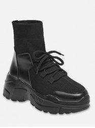 Lacing Patch Sock Casual Platform Boots -