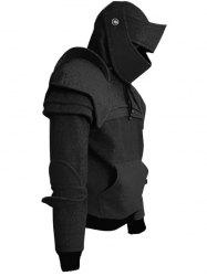 Men's Hoodie Retro Elbows Drawstring Solid Color -