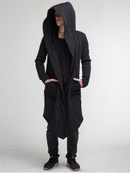 Men's Europe and American Autumn and Winter Solid Color Hooded Long Cardigan -