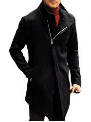 Men's Autumn and Winter Lapels Diagonal Zipper Slim Solid Color Long Coat -