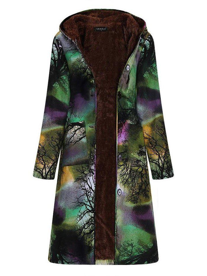 Sale Women Long-sleeve Large Size Long Cotton Linen Vintage Ink Printing Plus Velvet Hooded Parka
