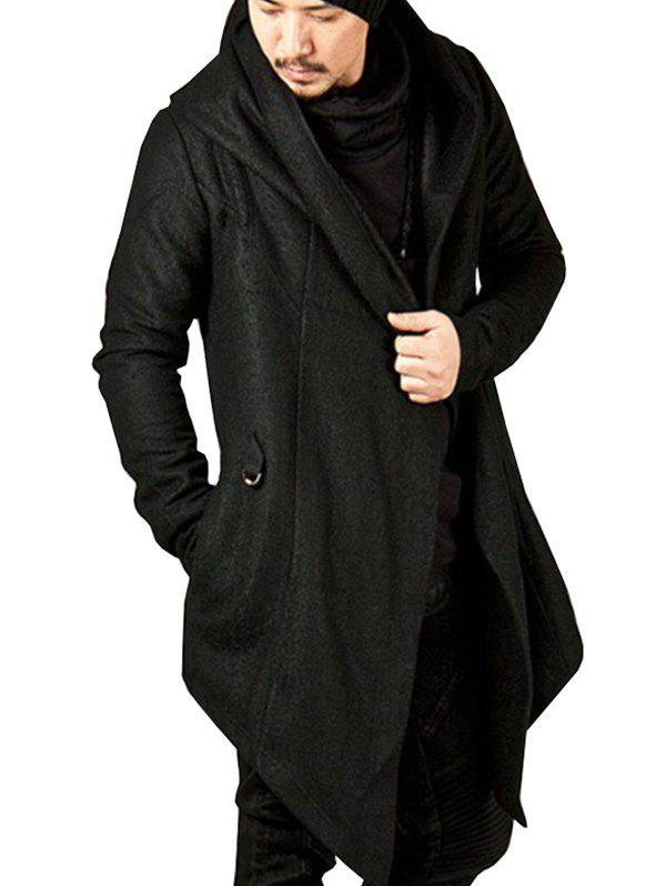 Affordable Men's Solid Color Hooded Irregular Hem Coat