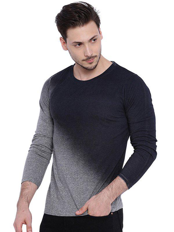Affordable Men's T-Shirt Long Sleeve Gradient Solid Slim Round Neck