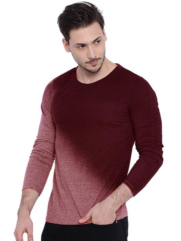 Sale Men's T-Shirt Long Sleeve Gradient Solid Slim Round Neck