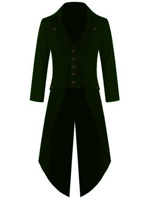 Affordable Men's Long Sleeve Solid Color Button Irregular Tuxedo
