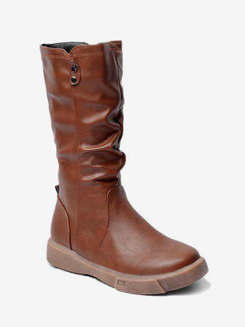 Fashion PU Leather Ruched Mid Calf Boots