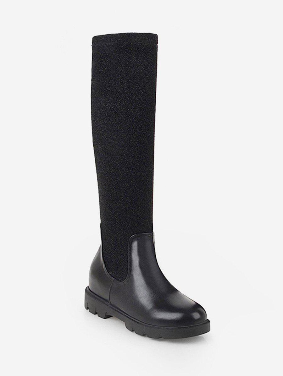 New Plus Size Contrast Patch Sock Knee High Boots