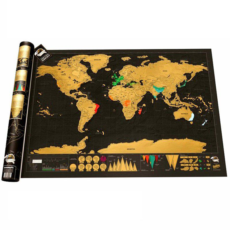 Online Copper Tin Foil Black Gold Travel Map World Version Scratching Gift Wall Hanging Toy