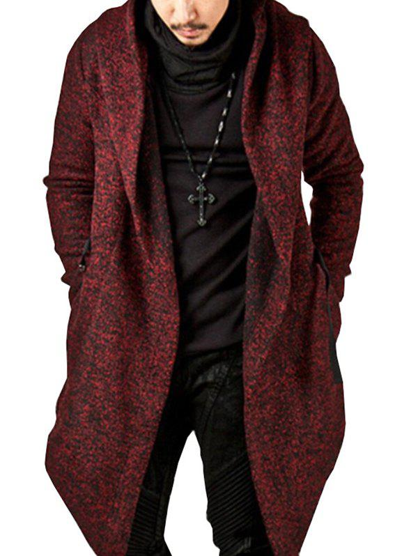 Store Men's Solid Color Hooded Irregular Hem Coat
