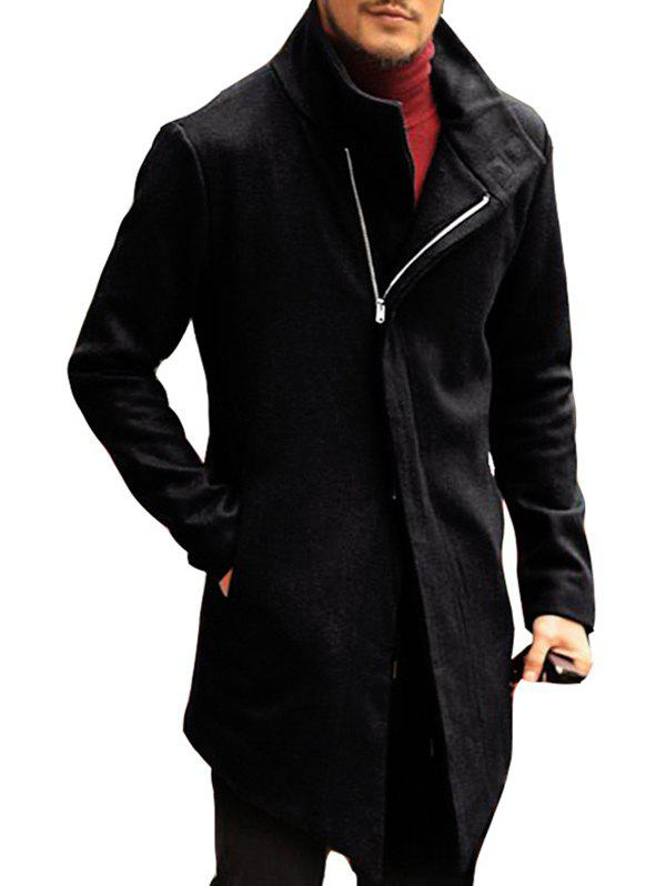 Buy Men's Autumn and Winter Lapels Diagonal Zipper Slim Solid Color Long Coat