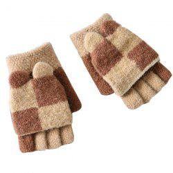 Two-color Stitching with Cover Half Finger Children's Gloves Baby Warm Household Items -