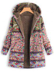 Printed Hooded Sweater Warm Parka -