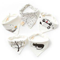 A Type Baby Triangle Saliva Towel Cotton Bib Double Button Newborn Children Turban 5PCS -