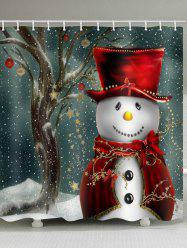Christmas Star Snowman Pattern Waterproof Shower Curtain -