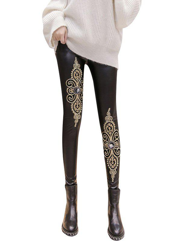 Chic Autumn Winter Matt PU Leather High Waist Tight Wearing Lace Embroidery Velvet Pants