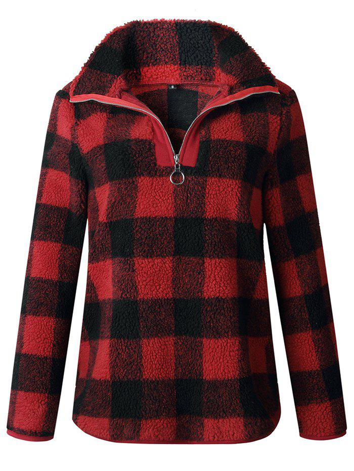 Outfit Fashion Plaid Long-sleeved High-neck Zipper Blouse Sweater Jacket