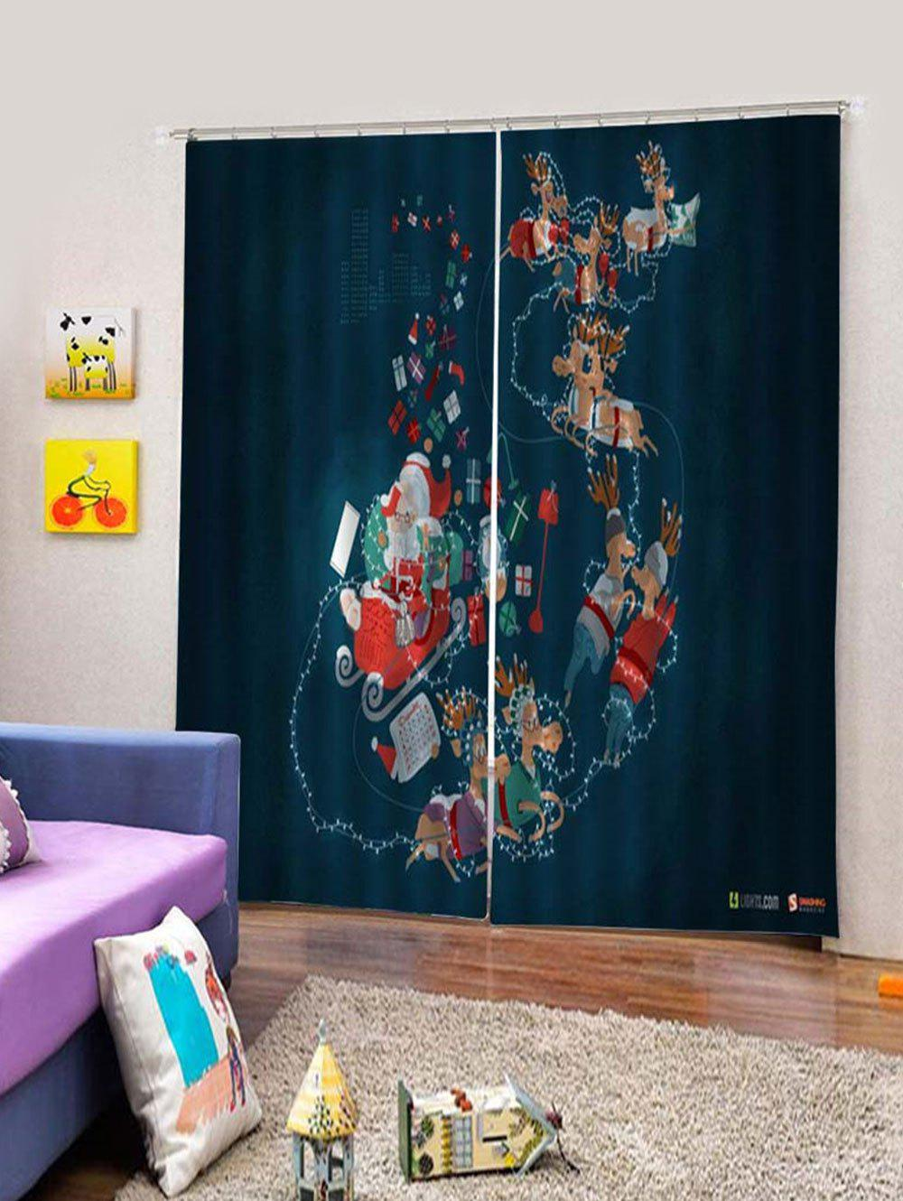Latest 2 Panels Christmas Deer Sleigh Print Window Curtains