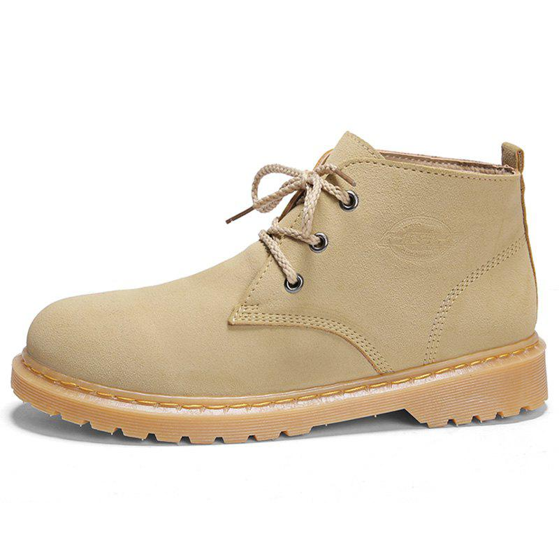 Online Men Stylish Wear-resistant Solid Leisure Medium Boots